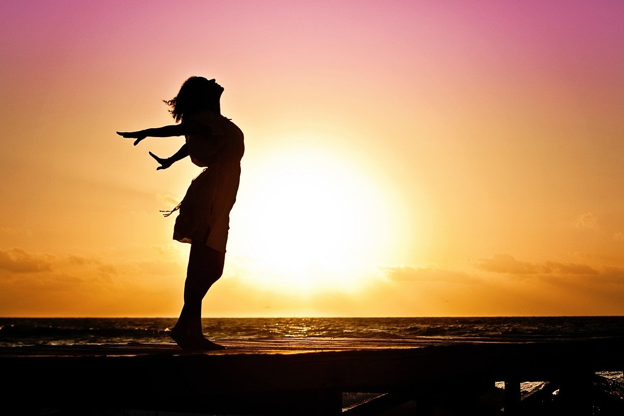 woman, happiness, sunrise